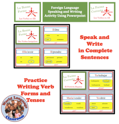 Foreign (World) Language Speaking and Writing Powerpoint Activity (French, Spanish) wlteacher.wordpress.com