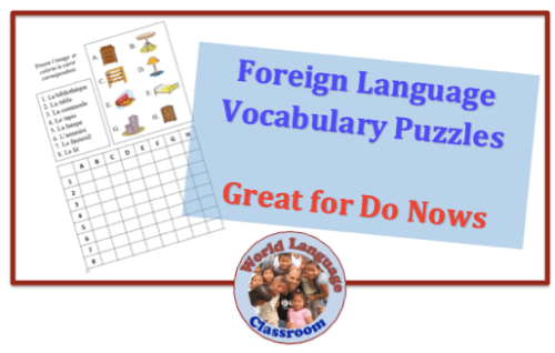 Foreign (World) Language Vocabulary Puzzles-Great for Do Nows (French, Spanish) wlteacher.wordpress.com