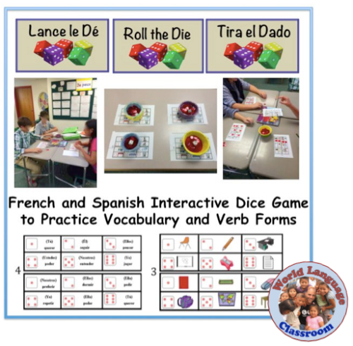 Foreign (World) Language Speaking Activity with Dice; Vocabulary and Verb. (French, Spanish) wlteacher.wordpress.com