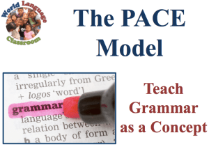 The PACE Model: Inductive Foreign Language Grammar Teaching (SlideShare) (French, Spanish) www.wlclassroom.com