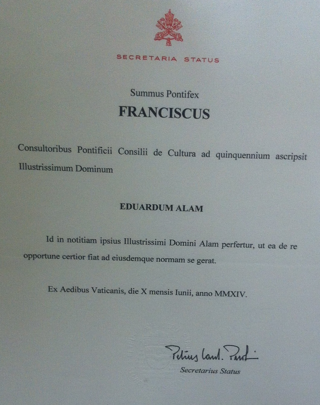 Pontifical Council for Culture - Papal Appointment of Edward Alam (2)