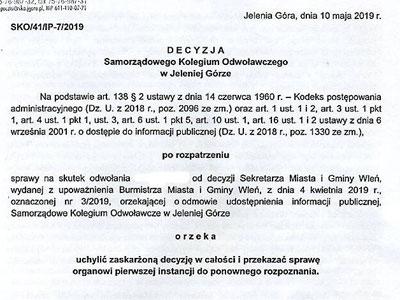 Burmistrz przegrywa z mieszkanką Wlenia przed Kolegium Odwoławczym