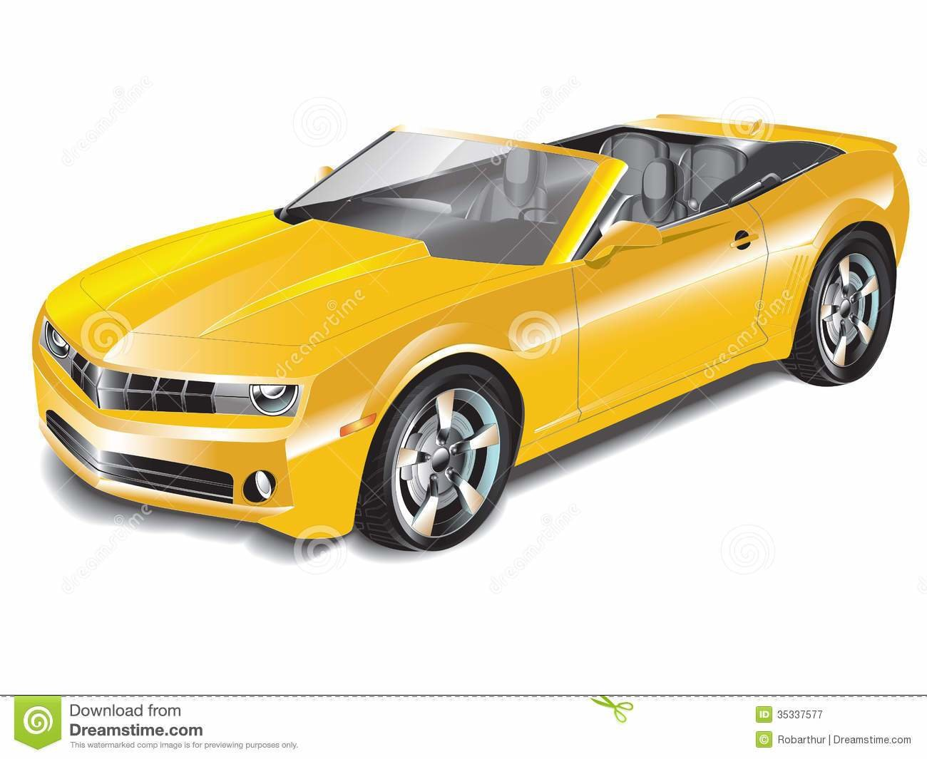 New Yellow Convertible Sports Car Stock Vector Image 35337577 On This Month