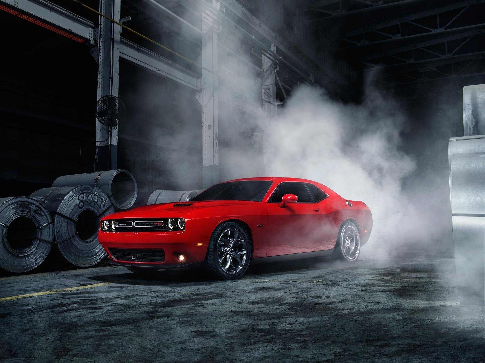 New Dodge Challenger American Muscle Car Smoke Red Front Ligth On This Month
