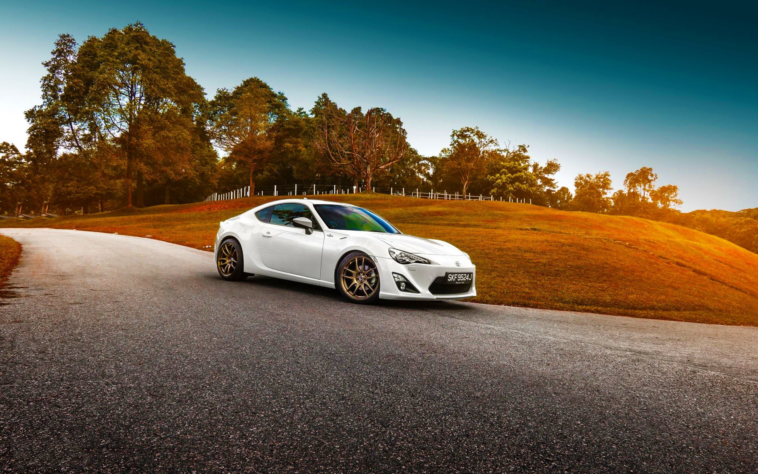 New Hd Background Toyota Gt 86 White Color Grass Sunset Car On This Month