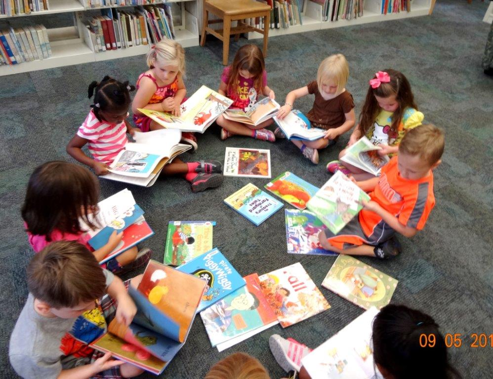 reading books in the library