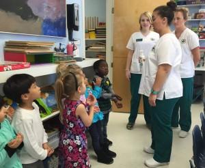 JU nursing students teaching handwashing