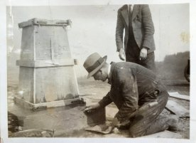 Building a trig pillar: There were once 6,500 trig pillars in Great Britain, built by the early surveyors at Ordnance Survey. Like an iceberg, there is as much of a trig pillar below the surface as above it, with several more feet of concrete.