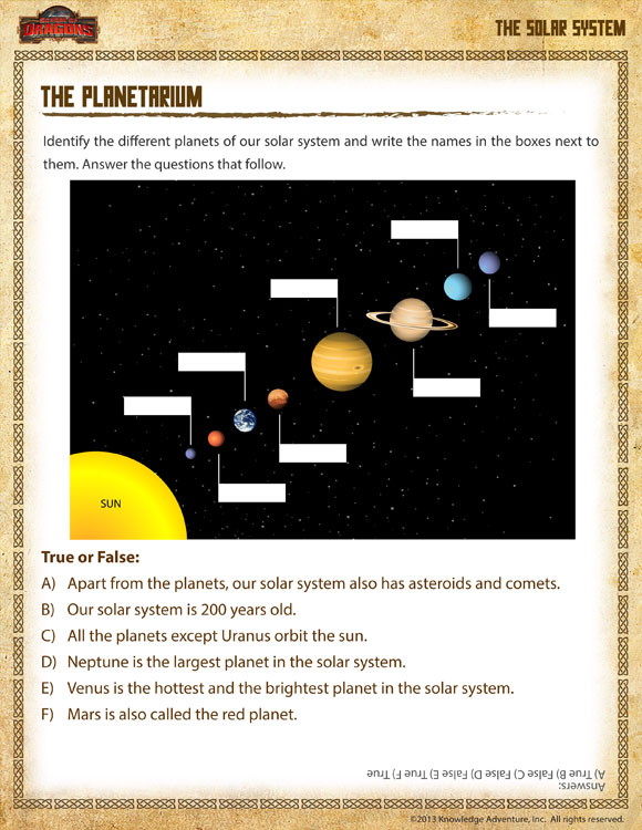 The Planetarium View Solar System Worksheet 1st Grade SoD