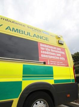 Ambulance under clouds