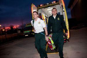 Ben - Sam coming off back of ambulance