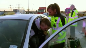 Rookie paramedic Maya with a patient on the M6
