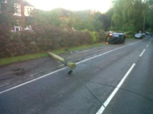 LUCKY ESCAPE FOR CAR ON SIDE IN STOKE ON TRENT 070614