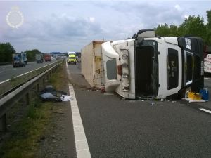 Lorry on Side on M6