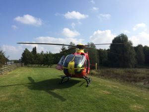 PEDESTRIAN AIRLIFTED FROM COLLISION WITH CAR IN EVESHAM 110914