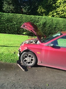 Road blocked by two-car crash 1 24-09-15