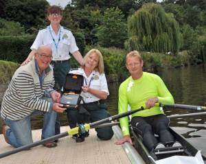 Defibrillator at Pengwern Rowing Club - Chris Jarratt, Sue Kapitanec, Dawn Lewis, rower