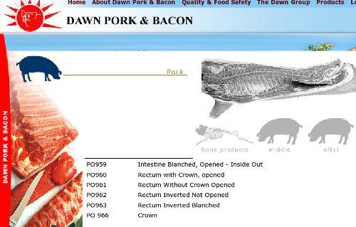 Boneless pork rectums
