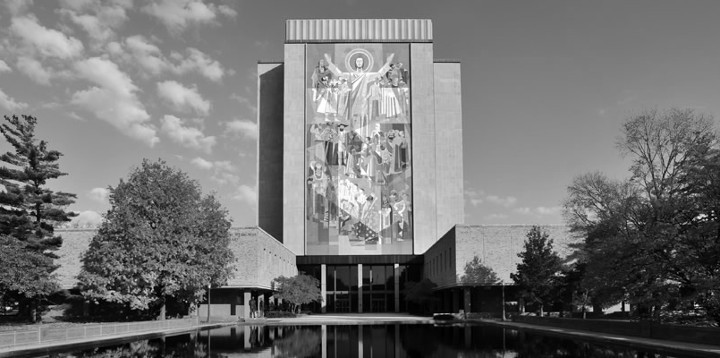 The fellow in the mural is becoming rather an embarrassment to Notre Dame's faculty.