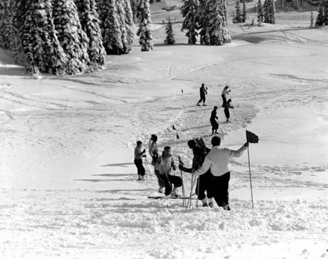 Workers preparing the slope