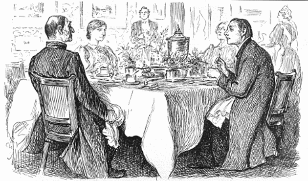 """Bishop: """"I'm afraid you've got a bad egg, Mr Jones""""; Curate: """"Oh, no, my Lord, I assure you that parts of it are excellent!"""" """"True Humility"""" by George du Maurier, originally published in Punch, 9 November 1895."""