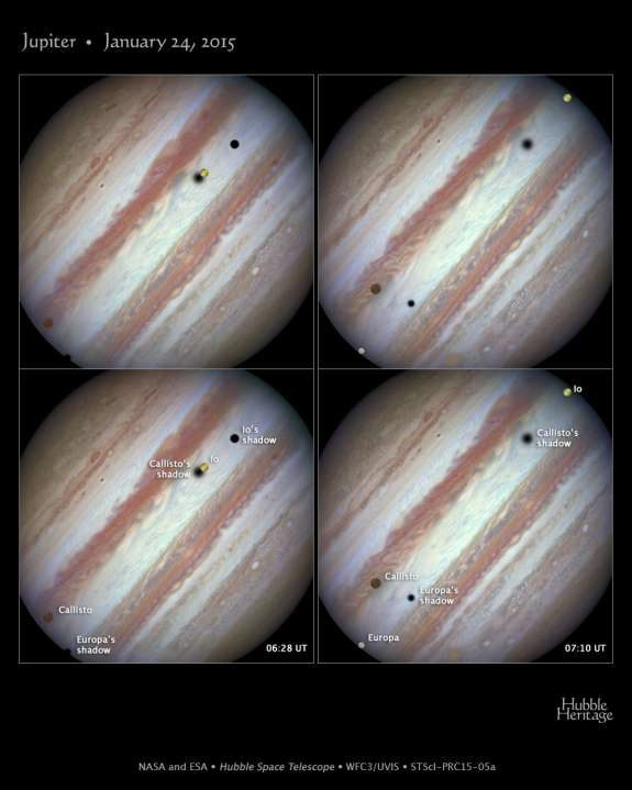 NASA's Hubble Space Telescope captured a rare look at three of Jupiter's largest moons parading across the banded face of the gas-giant planet: Europa, Callisto, and Io.