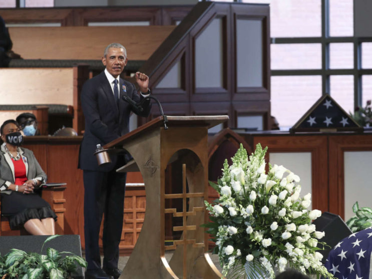 Former US President Barack Obama speaks during the funeral of late Representative and Civil Rights leader John Lewis(D-GA) at the State Capitol in Atlanta, Georgia on July 30, 2020. - Lewis, a 17-term Democratic member of the US House of Representatives from the southern state of Georgia, died of pancreatic cancer on July 17 at the age of 80. (Photo by Alyssa Pointer / POOL / AFP) (Photo by ALYSSA POINTER/POOL/AFP via Getty Images)