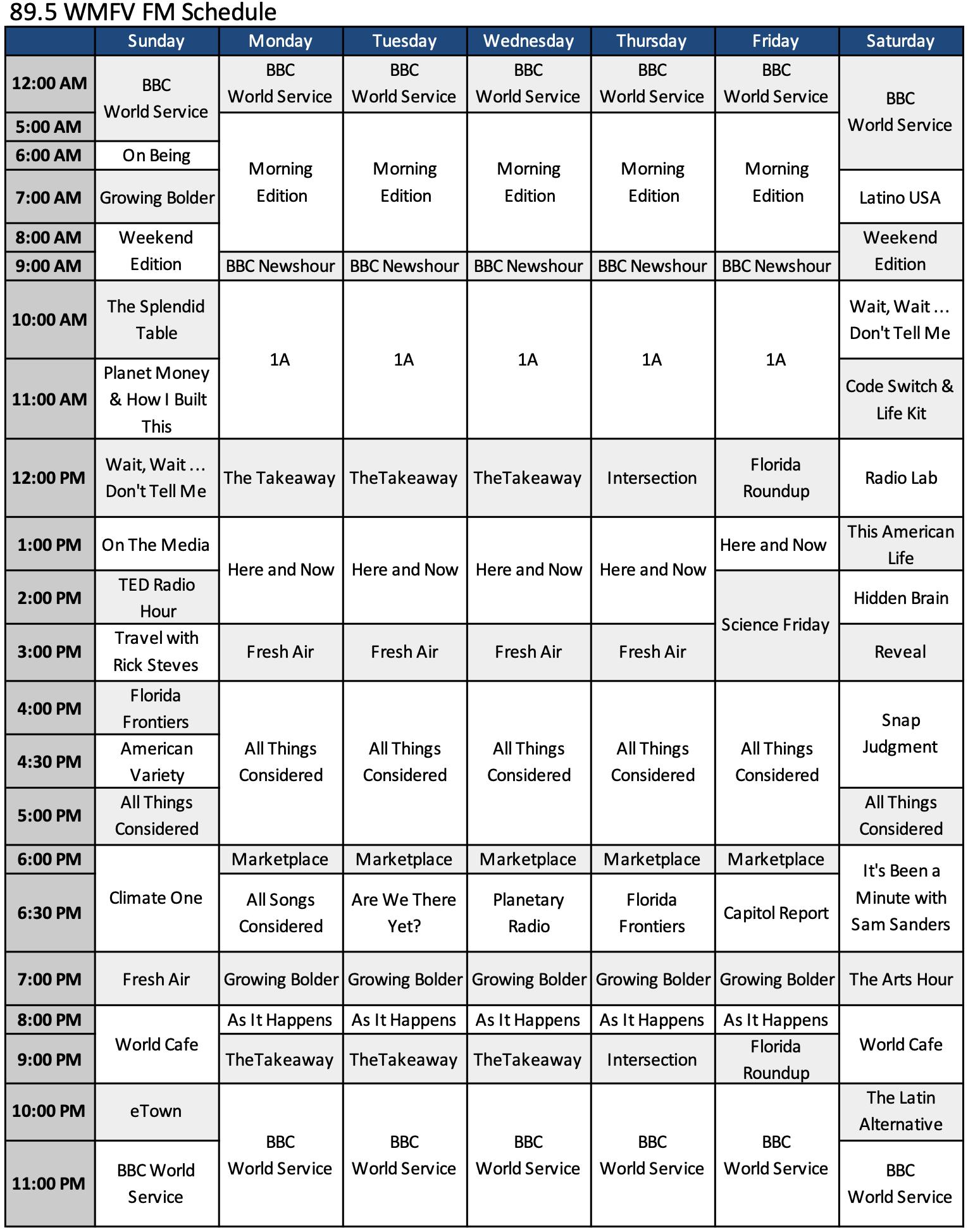 89.5 WMFV FM Schedule