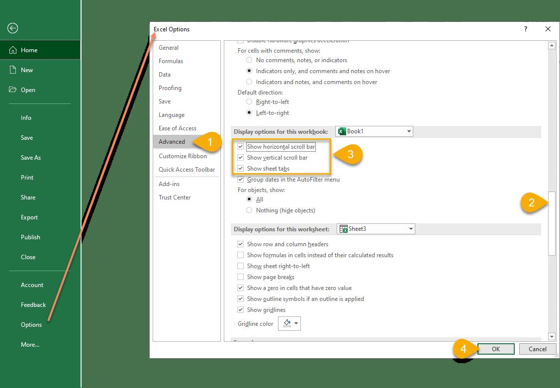 Hide And Seek Scroll Bars And Worksheet Tabs In Excel