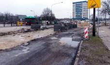 Budowa linii tramwajowej przy ulicy Kościuszki (2 stycznia 2015)