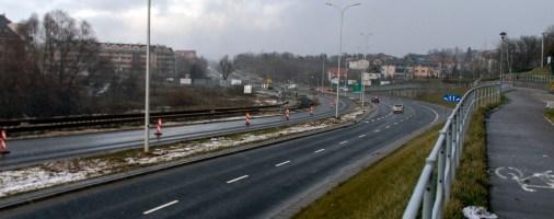 Budowa linii tramwajowej przy ulicy Płoskiego (2 stycznia 2015)