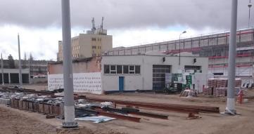 Budowa zajezdni tramwajowej przy ulicy Towarowej i Kołobrzeskiej (12 kwietnia 2015)