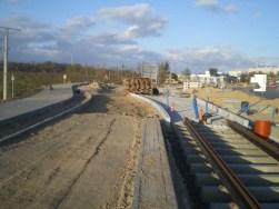 Budowa linii tramwajowej przy ulicy Tuwima (16 kwietnia 2015)