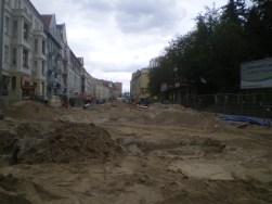 Budowa linii tramwajowej w ulicy Kościuszki (10 maja 2015) - skrzyżowanie z placem Pułaskiego