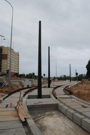 Budowa linii tramwajowej przy ulicy Obiegowej (18 czerwca 2015) - przystanek Szpital Wojewódzki