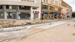 Budowa linii tramwajowej na placu Jana Pawła II (12 lipca 2015)
