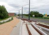 Budowa linii tramwajowej przy ulicy Tuwima (12 lipca 2015) - przystanek końcowy przy skrzyżowaniu z aleją Warszawską i ulicą Prawocheńskiego
