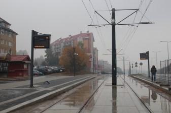Budowa linii tramwajowej przy alei Sikorskiego (18 października 2015) - przystanek Andersa