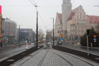 Budowa linii tramwajowej w alei Piłsudskiego (18 października 2015)