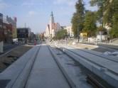 Budowa linii tramwajowej w alei Piłsudskiego (4 października 2015) - przystanek Centrum