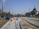 Budowa linii tramwajowej w ulicy Lubelskiej (4 października 2015) - budynek socjalny dla motorniczych i tory odstawcze przy przystanku końcowym Dworzec Główny