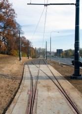 Linia tramwajowa przy ulicy Tuwima (31 października 2015) - mijanka przy skrzyżowaniu z ulicą Iwaszkiewicza