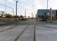 Linia tramwajowa przy alei Sikorskiego (31 października 2015) - skrzyżowanie z ulicą Tuwima