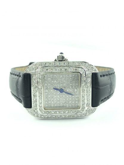 18K WHITE GOLD/2.00CT TOTAL DIAMOND DIAL WATCH