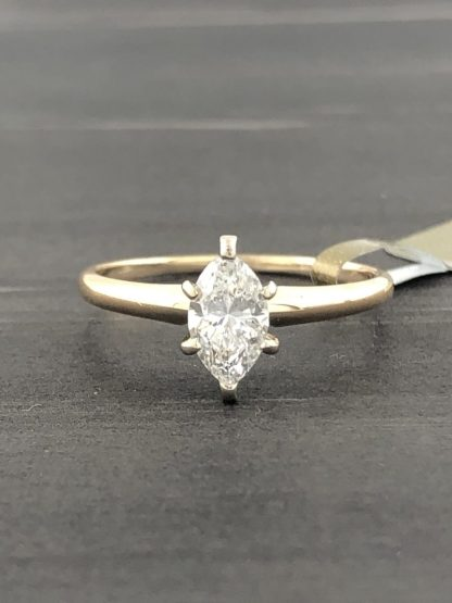 14K YELLOW GOLD ENGAGEMENT RING 0.55CT TDW MARQUISE DIAMOND/SIZE 7.75""