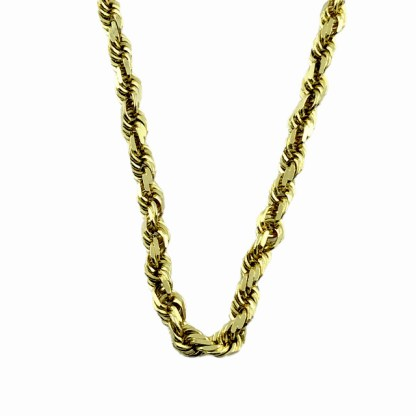 14K YELLOW GOLD HALLOW ROPE NECKLACE| 10.8GSIZ| LENGTH 20""