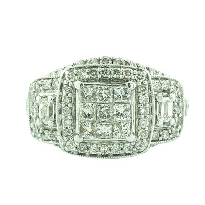 "DIAMOND BRIDAL SET-14K WHITE GOLD  8.8G  1.60CT TDW  SIZE 6.25"""