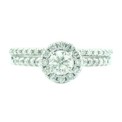 "DIAMOND BRIDAL SET-14K WHITE GOLD| 0.33CT CENTER| 1.00CT TDW| SIZE 8"""