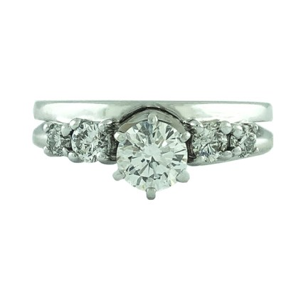 GIA CERTIFIED DIAMOND BRIDAL SET- 18K/14K WHITE GOLD| 0.53CT(C)| 0.83CT TDW| SIZE 7""