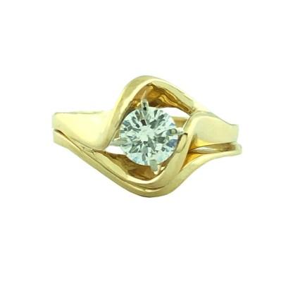 "DIAMOND BRIDAL SET- 14K YELLOW GOLD| 4.8G| 0.50CT TDW| SIZE 5.25"""